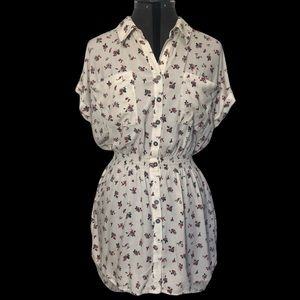Kismet Floral Button Up Tunic Top w/ Cuffed Sleeve